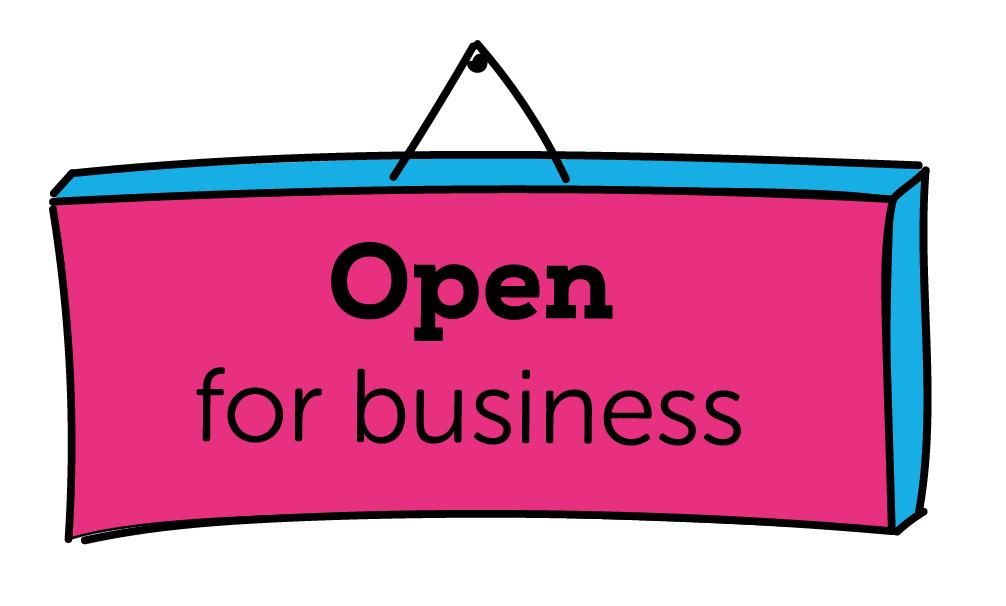 Open for business, zaak openen, geopend. Doorwerken na je pensioen, open bijvoorbeeld je eigen zaak, als ondernemer of zzp'er, blog, BrightPensioen